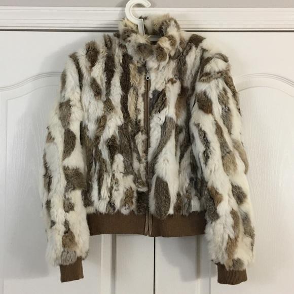 6a0c7fc3fbacf Wilson Leather Rabbit Fur Bomber Coat. M 5c0c5c9f95199639e7aacaf8